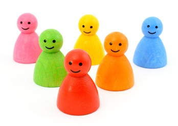 Colorful gaming pieces smiling isolated