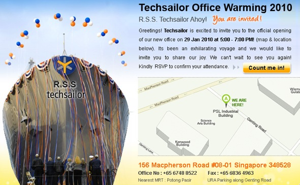 Techsailor Office Warming Party Flyer
