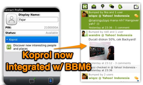 Yahoo koprol in major app update now integrates with bbm6 yahoo koprol the first location based social network in indonesia has announced that a major update to the koprol app for blackberry has integrated it stopboris Gallery