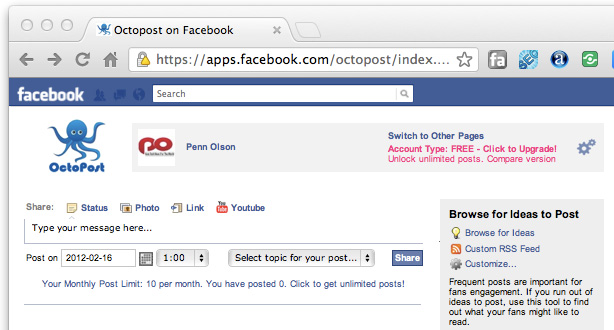 Octopost Automates and Analyzes Your Facebook Content Updates