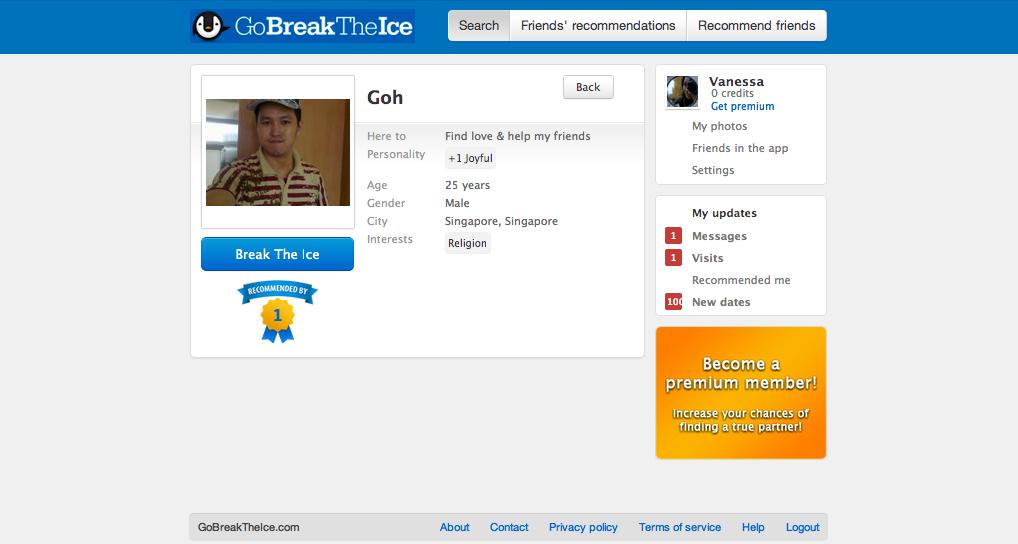 Break the ice dating site