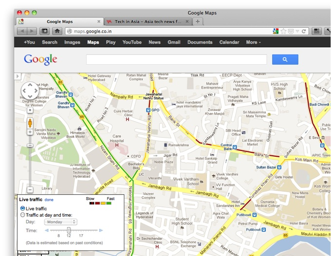 google maps brings live traffic data in car navigation. Black Bedroom Furniture Sets. Home Design Ideas
