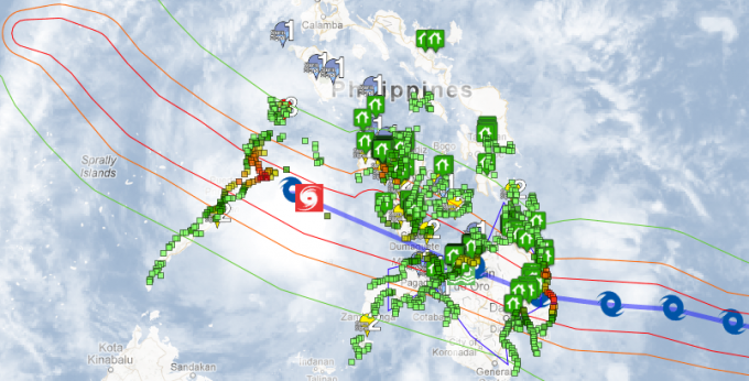 Google's Crisis Response map for Typhoon Pablo