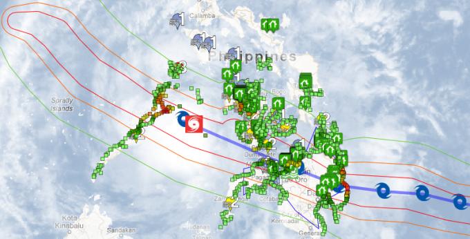 Google's Crisis Response map for Typhoon Pablo