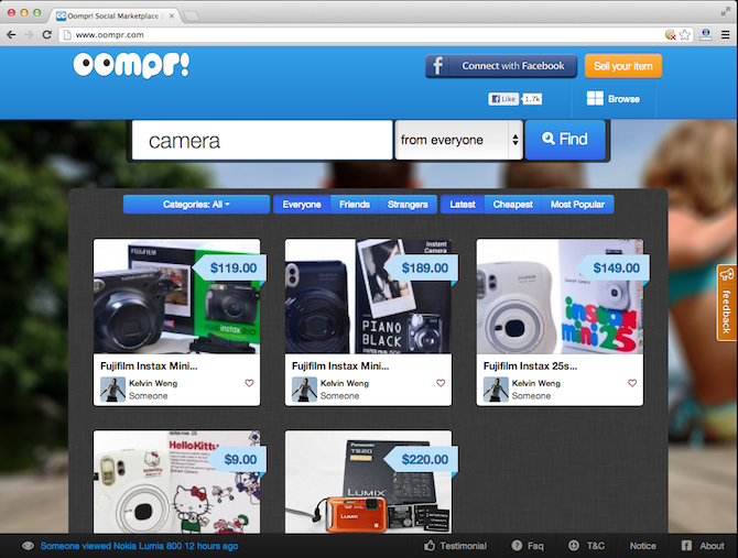 This is how the Oompr dashboard looks like