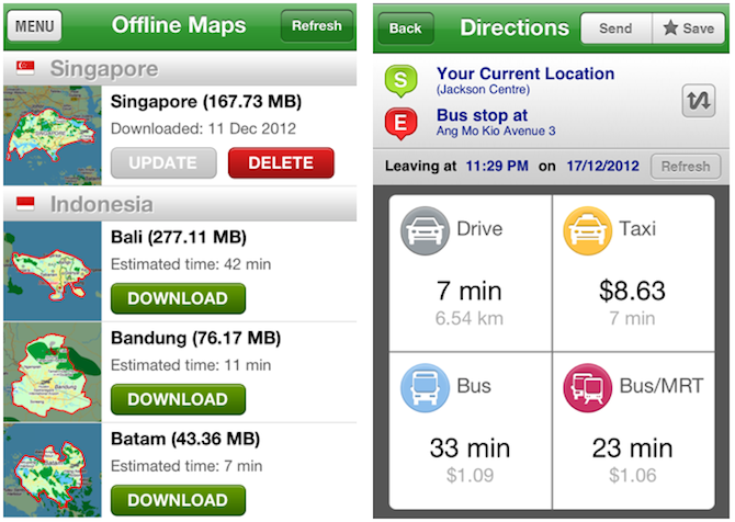 Screen shots of Street Directory app