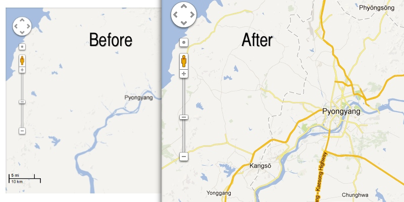 Google Maps adds North Korea details
