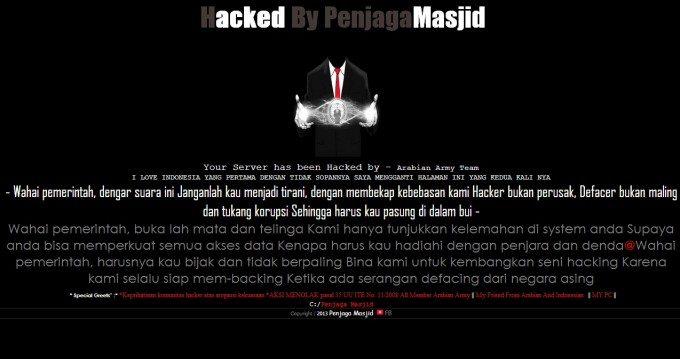website defaced protest hacker