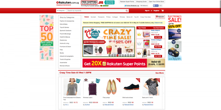ecommerce sites singapore rakuten