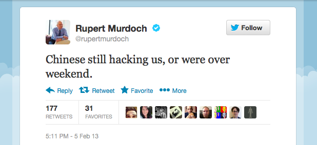 Rupert Murdoch on Chinese hackers