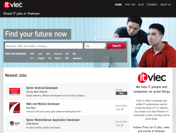 ITviec Home Page Cropped