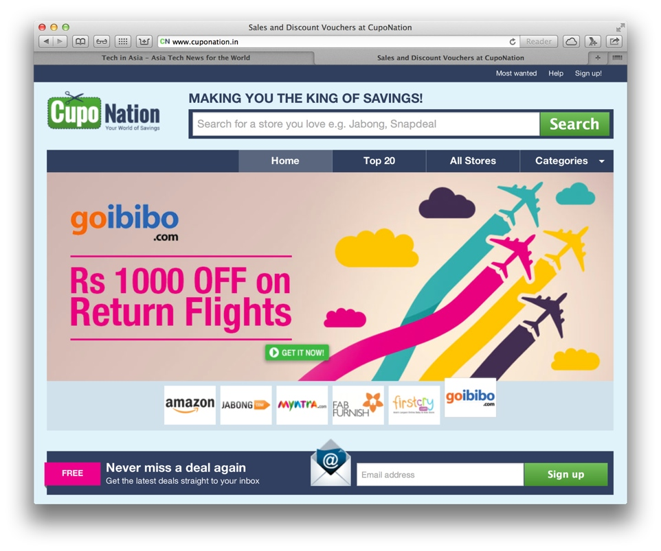 Rocket Internet's CupoNation India site