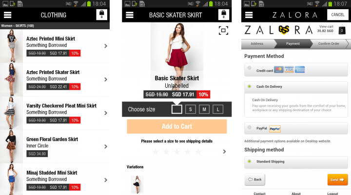 Zalora Android App Screenshots