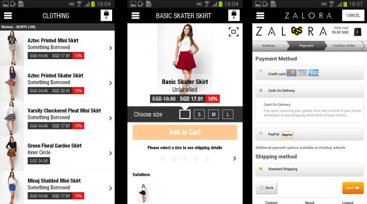 Zalora Android App Screenshots