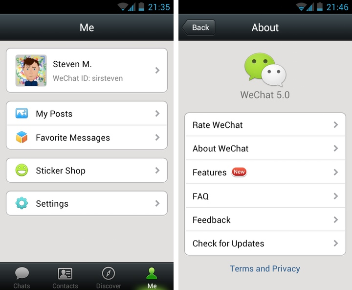 WeChat v5.0 for Android