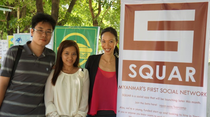 Rita Nguyen, founder and CEO of Squar, is on the right in red.