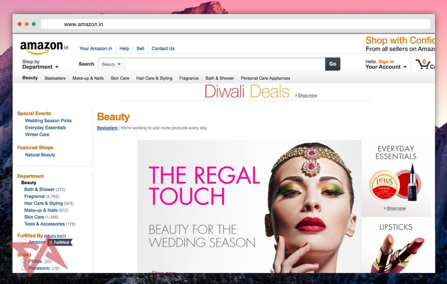 Amazon India beauty store