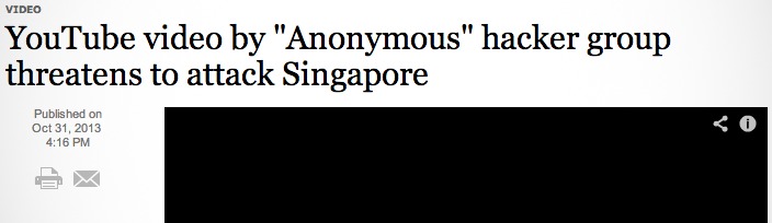 'Anonymous' Hackers Threaten War With Singapore Government