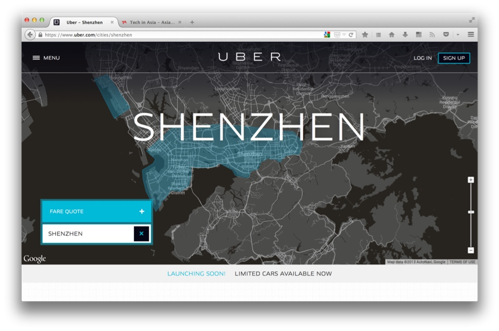Uber hits streets of Shenzhen, its second city in China