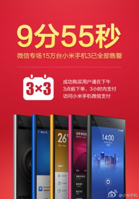 """9 minutes 55 seconds"" ... that's how long it took to sell all 150,000 Mi3 smartphones through WeChat."