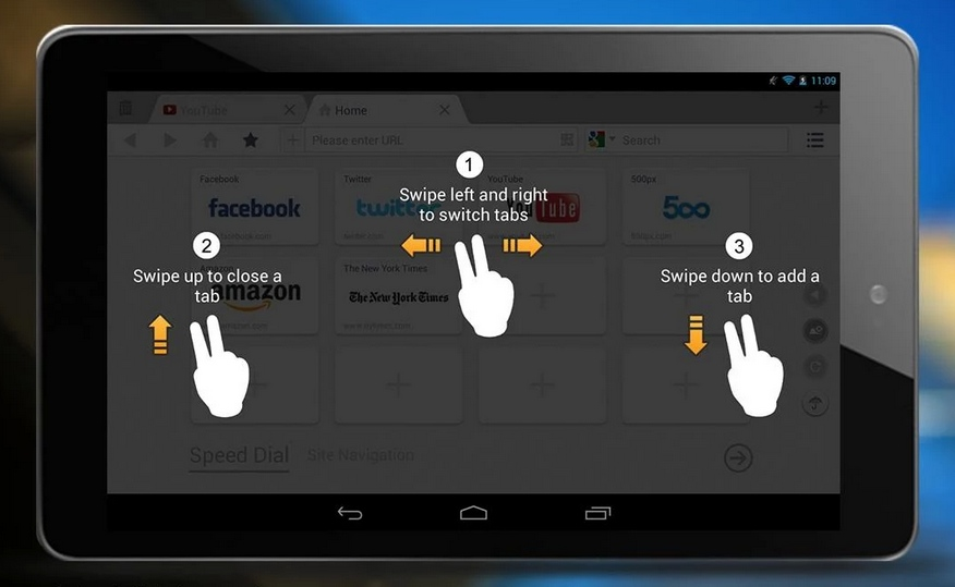 UC Browser HD Android swipe tabs