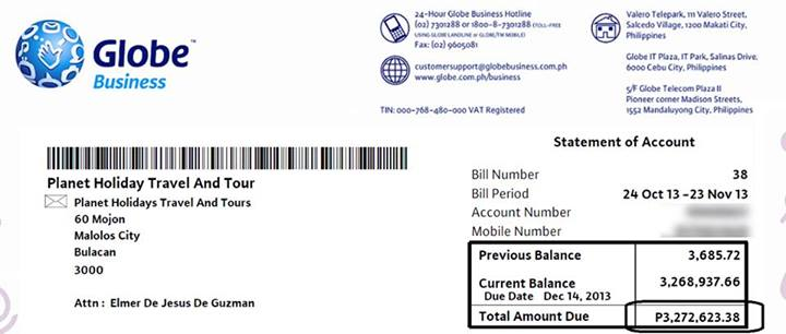 globe Php 3million bill