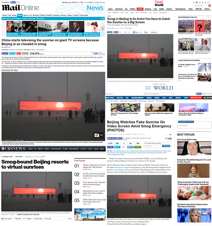 daily mail time cbs huff post smog sunrise