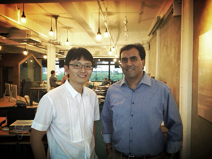 Silicon Straits' James Chan at Co.Lab with Sanjay Nath, managing partner at Blume Ventures.