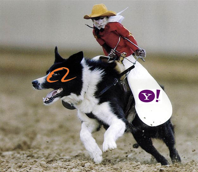 yahoo riding alibaba monkey dog