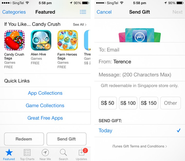 iTunes Gift Card now available in Singapore