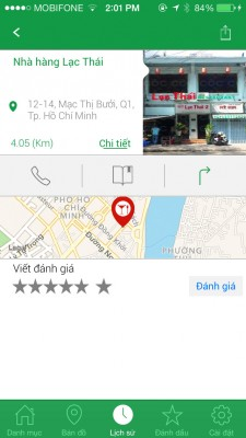 More than just a map app, Nha Nha lets you call the location, look up for directions, or even rate it.