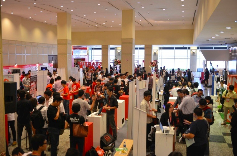 Startup exhibition in Startup Asia Jakarta 2013. More than 100 companies exhibited in the conference.