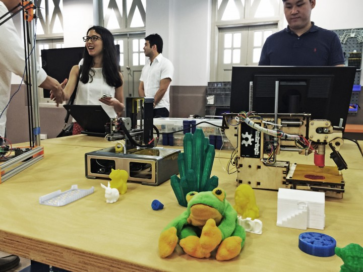 JFDI's mascot frog makes an appearance at a government-run tinkering lab.