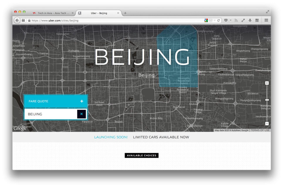 Uber Beijing launch