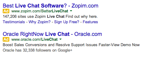 SERP for free live chat software