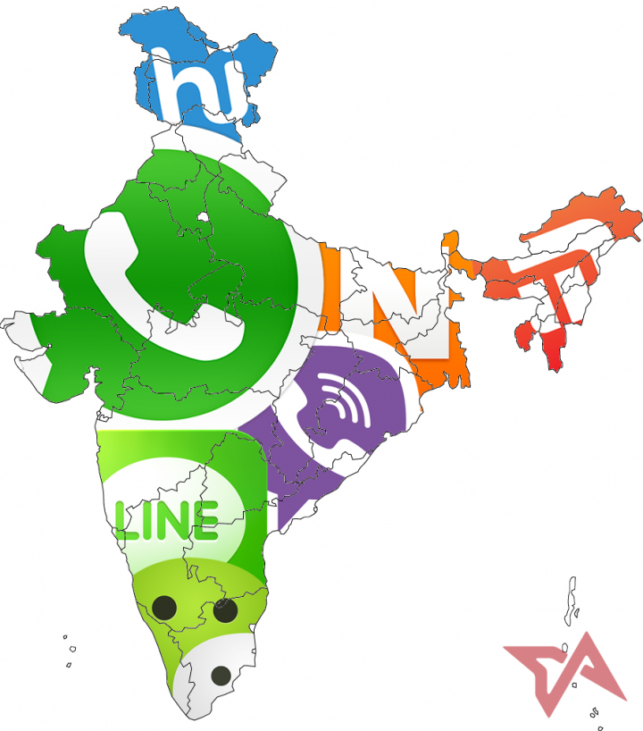 india map messaging apps chat
