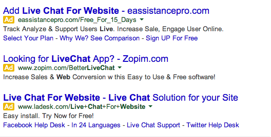 SERP for live chat for website