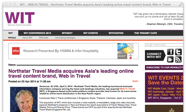 northstar travel media acquires web in travel