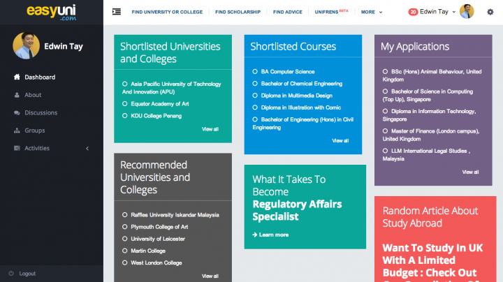 Dashboard   EASYUNI   Asia s largest University and College portal