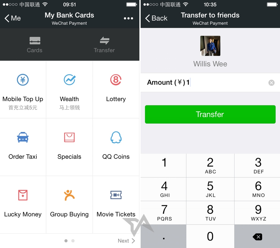 WeChat money transfers