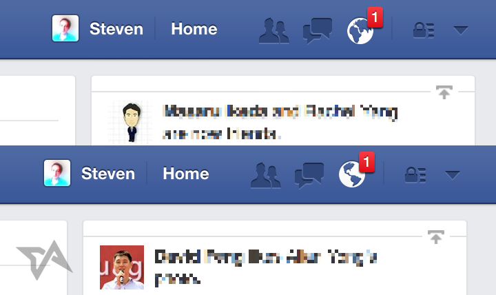 FB notifications icon changes to Asia and Africa