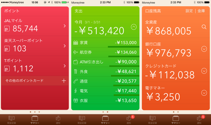 MoneyTree screenshots