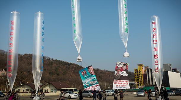 Human Rights Foundation sends USB drives containing Wikipedia to North Korea via balloon.