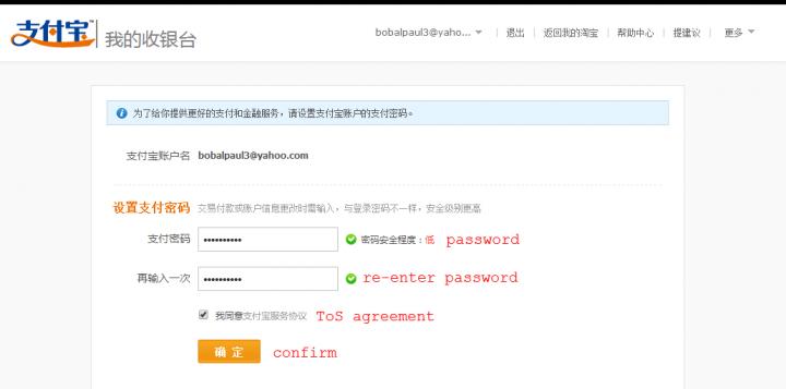 alipay english password 2