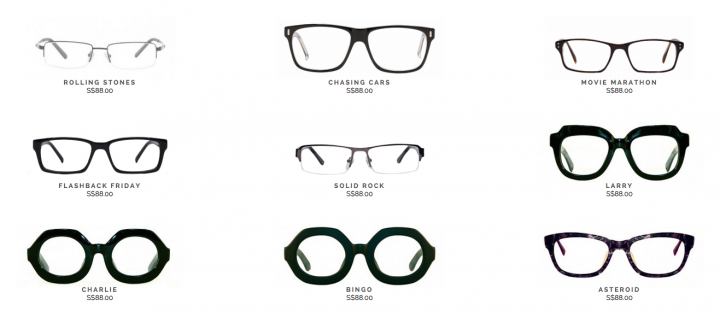 optical glasses online shop  Four Eyes sells prescription glasses online in Singapore