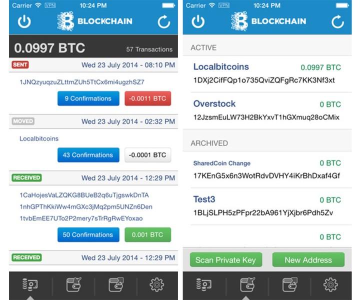 blockchain bitcoin wallet app