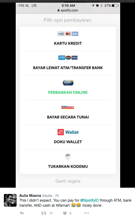 Spotify Indonesia Launches With Many Payment Options