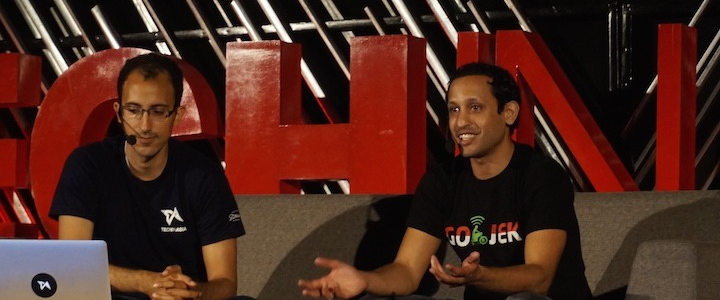 Nadiem Makarim (right), founder and CEO of Go-Jek, pictured last year at Tech in Asia Jakarta.