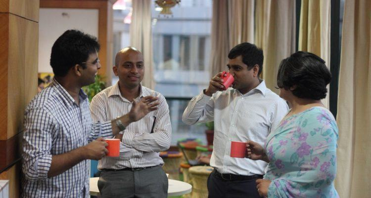 Knowlarity co-founder Ambarish Gupta - second from left in the startup's office. Photo credit: Knowlarity.