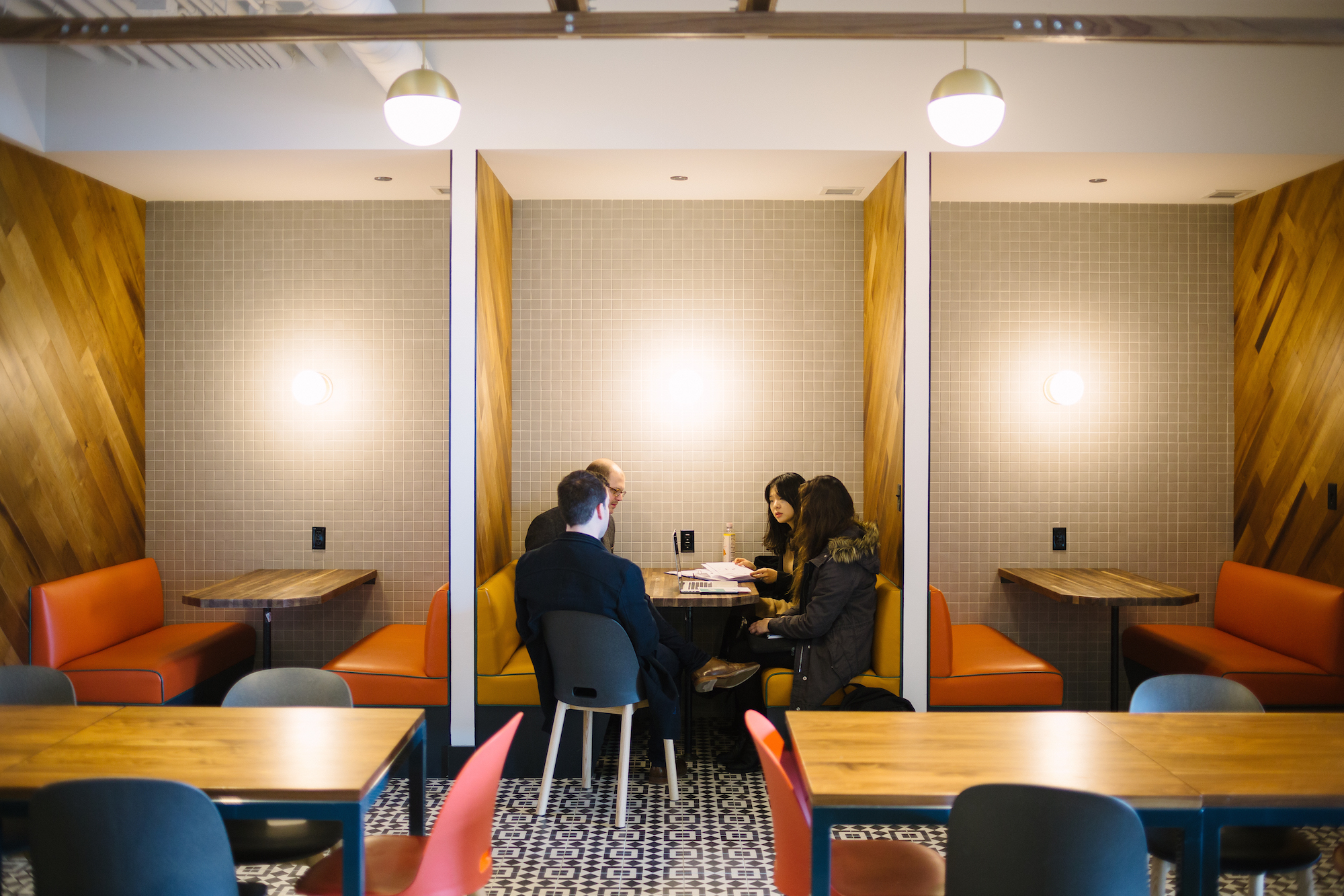 Meeting booths at WeWork's Yanping Lu location in central Shanghai. Photo credit: WeWork.